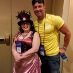 Shane came by for photo ops at the steampunk party.